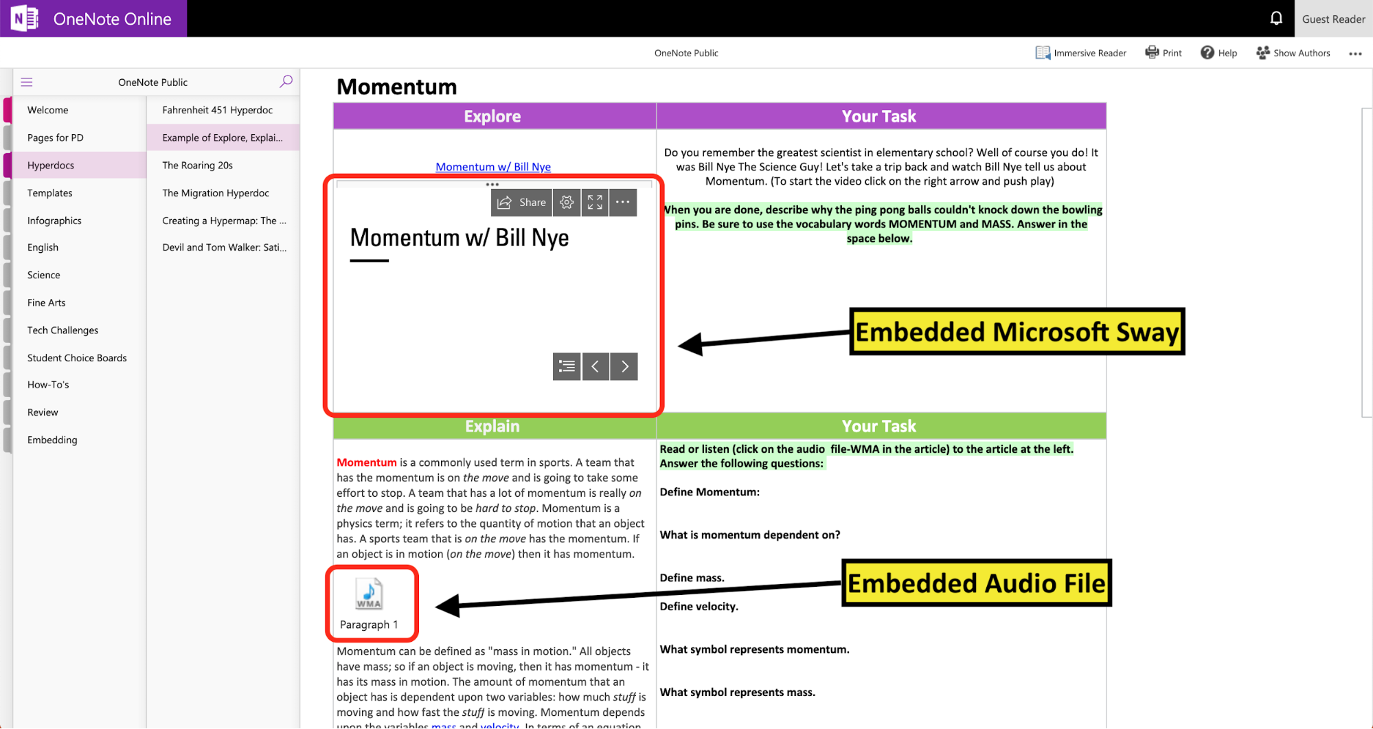 HyperDocs in OneNote example 1 | Ditch That Textbook