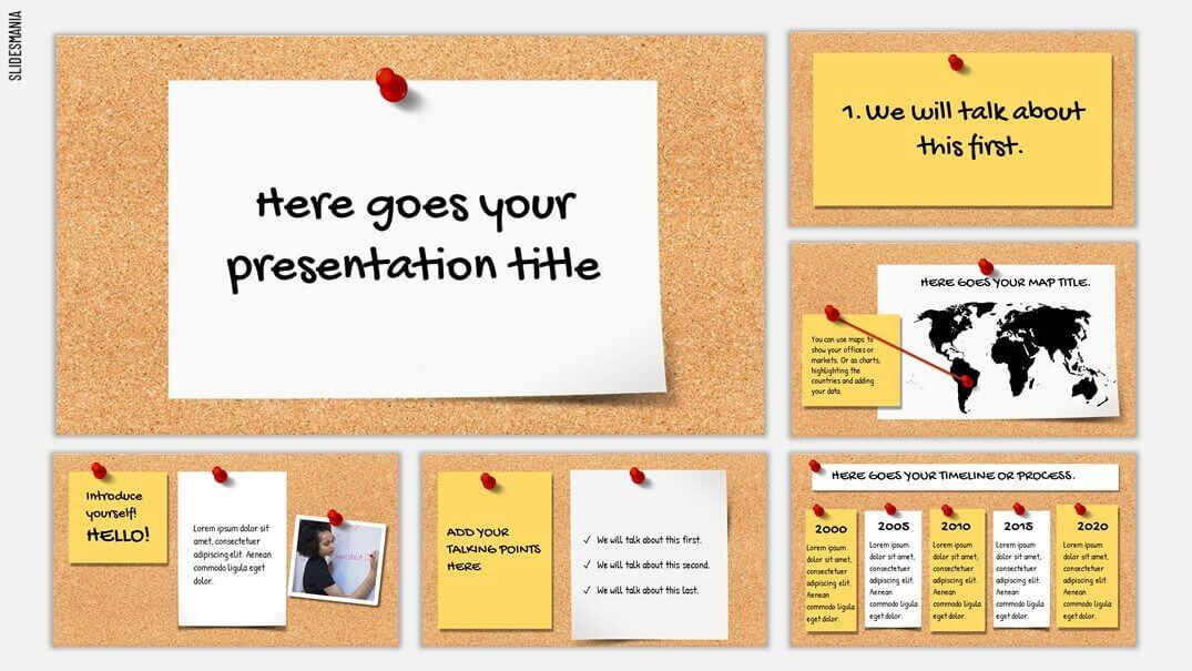 Cork board style background with white and yellow post it note styled text boxes.