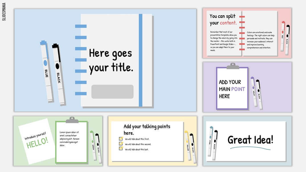 Powerpoint or Google Slides theme theme featuring notebooks, paper, clipboards and markers.