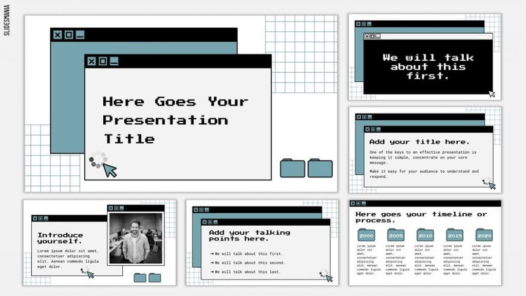 Teal, black and gray retro style computer operating system theme.