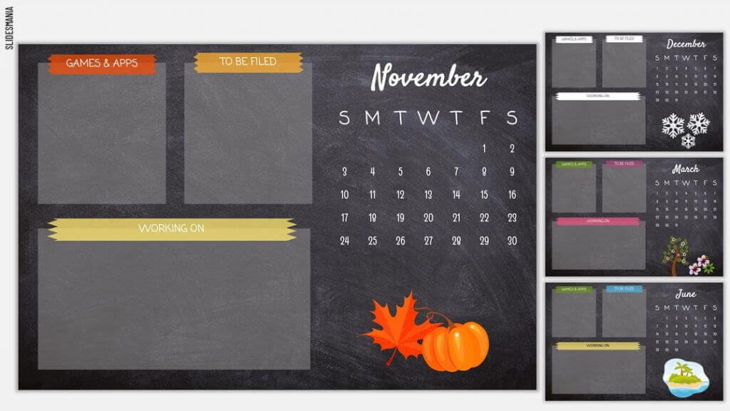 Calendar and text boxes on dark gray background.. Red, orange and yellow icons and embellishments.