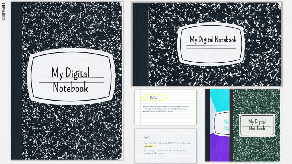 Black composition notebook style background theme.