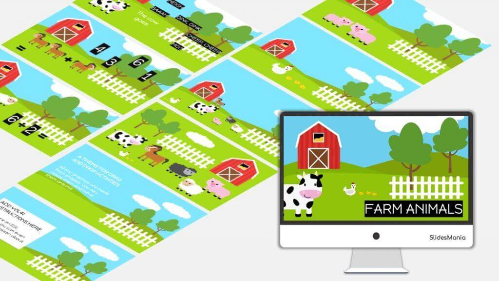 Colorful farm animal theme for Google Slides or Powerpoint.