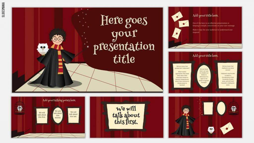 Harry Potter template with dark red background, white text and yellow text boxes.