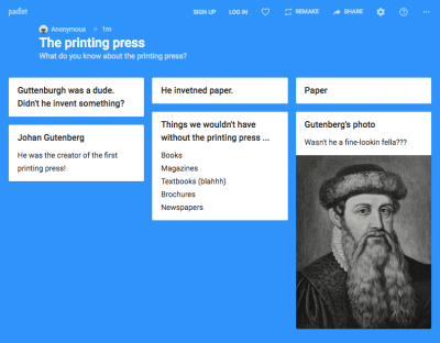 Padlet  for bellringer screenshot