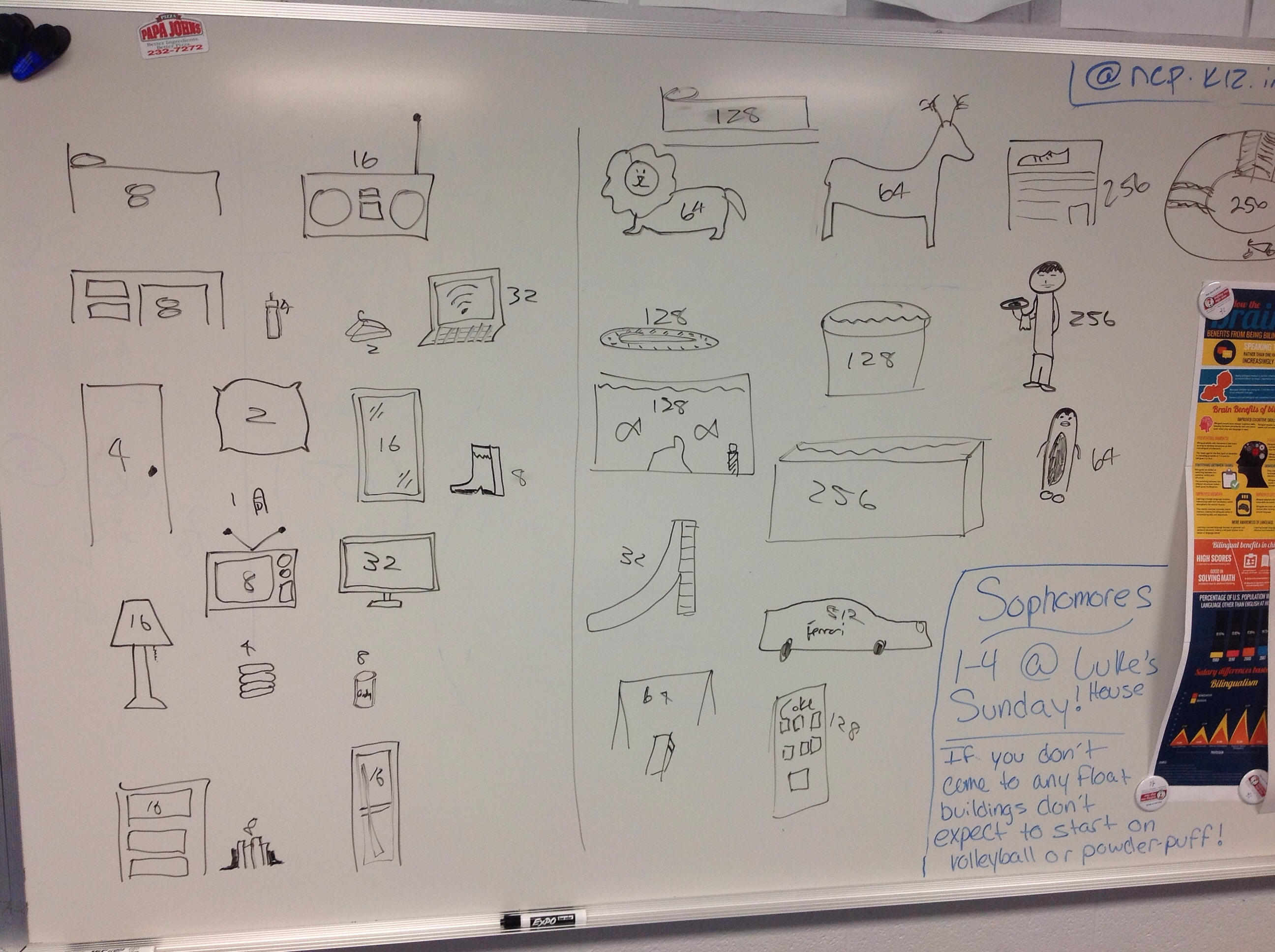 Students came up with the items that could be purchased with points from answering questions. (Photo via Matt Miller)