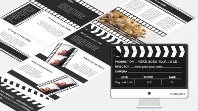 Black and white theme featuring filmstrips and clapperboards.