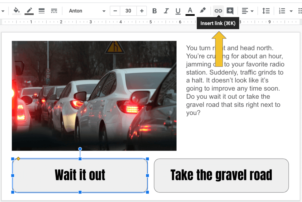 Choice stories select shape and insert link