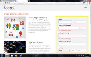 Signing up for Google Plus