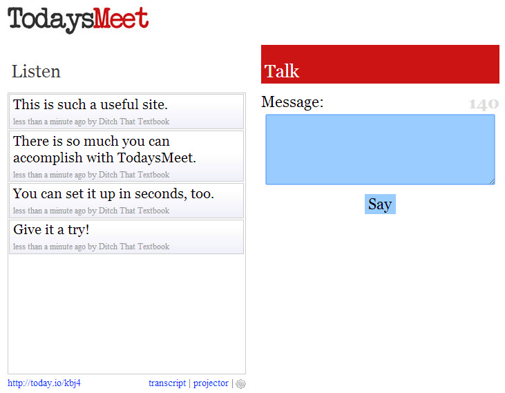 20 useful ways to use TodaysMeet in schools