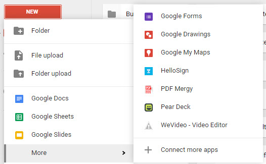 "Google Apps isn't just Docs, Slides and Sheets! Find more apps by clicking ""More"" at the bottom of the ""New"" menu. Add more apps by clicking ""Connect more apps"". Here's what my apps menu looks like."