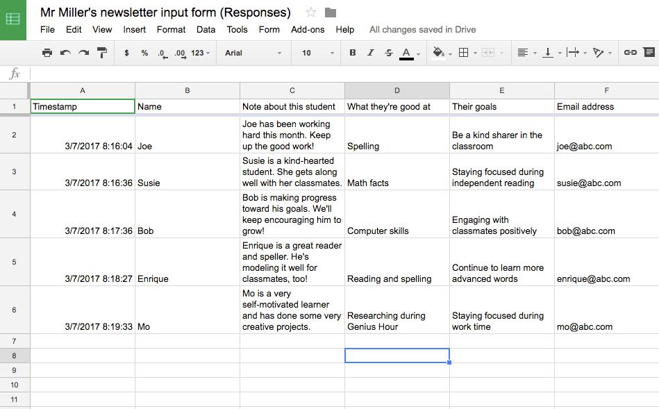newsletter data sheet