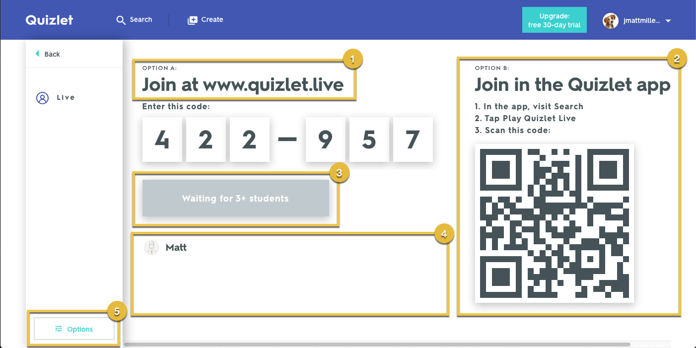 A screenshot of the Quizlet live join screen, with a QR code and join code