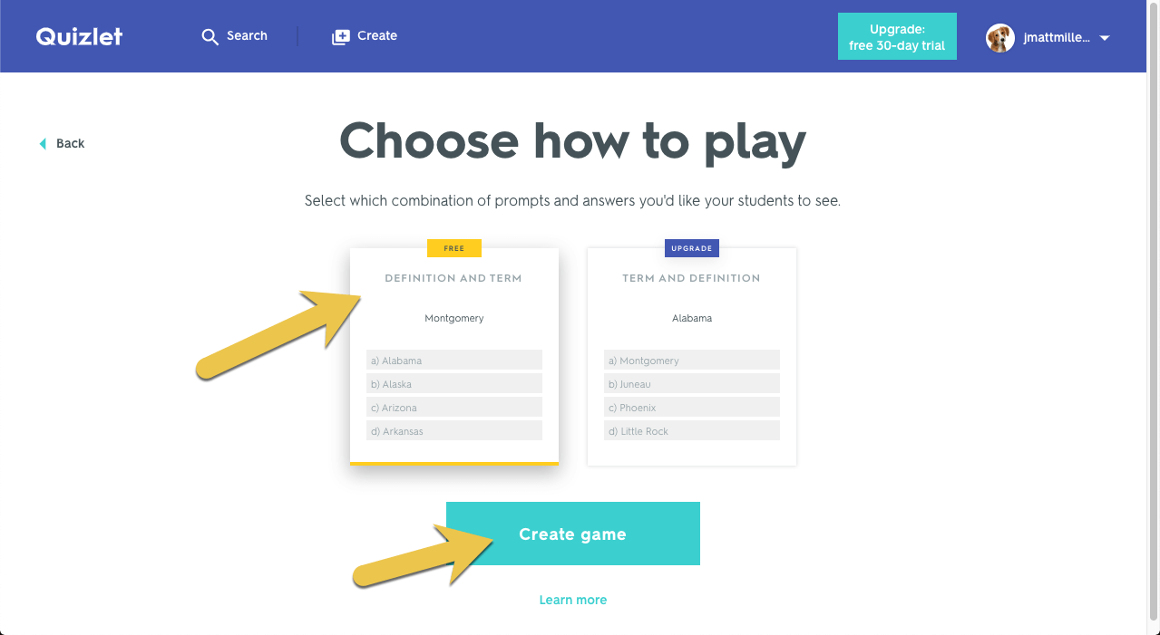 A screenshot showing how to create a Quizlet Live game