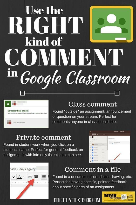 Use the right kind of comment in Google Classroom
