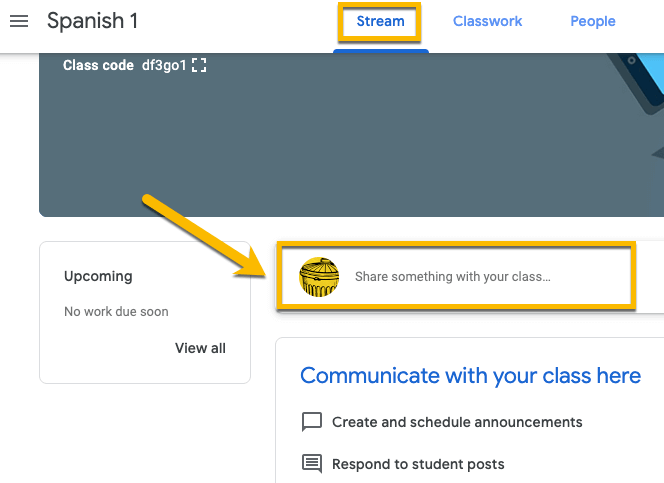 Create and share announcements with your class in Google Classroom