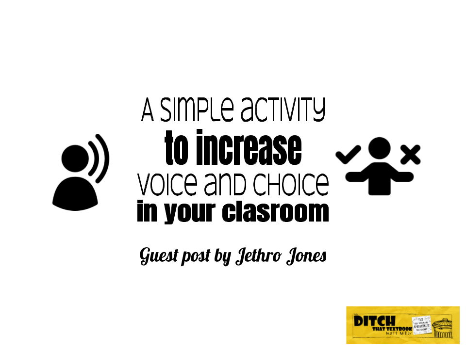 A simple activity to increase voice and choice in your classroom