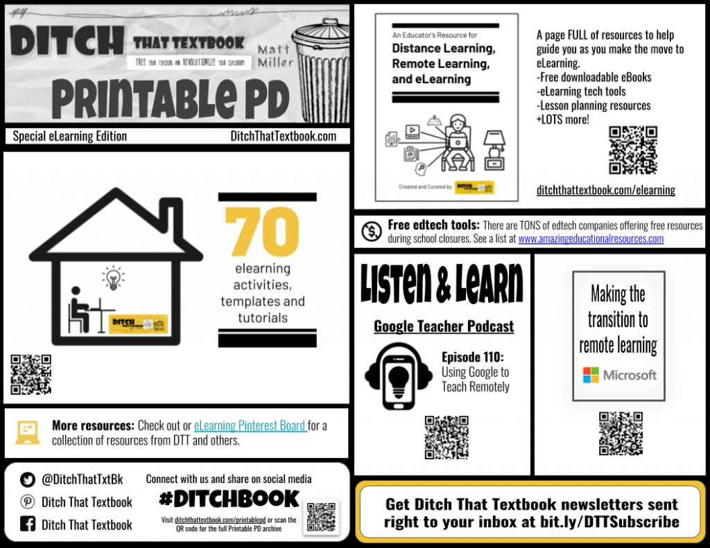 Ditch That Textbook Printable PD eLearning edition