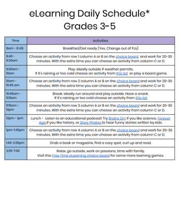 Sample elearning schedules