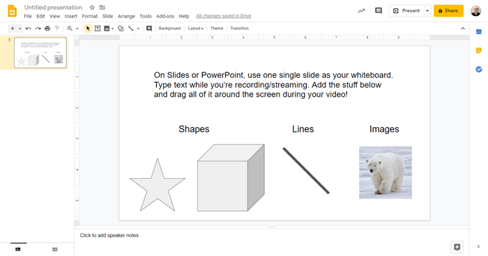 slides/powerpoint example