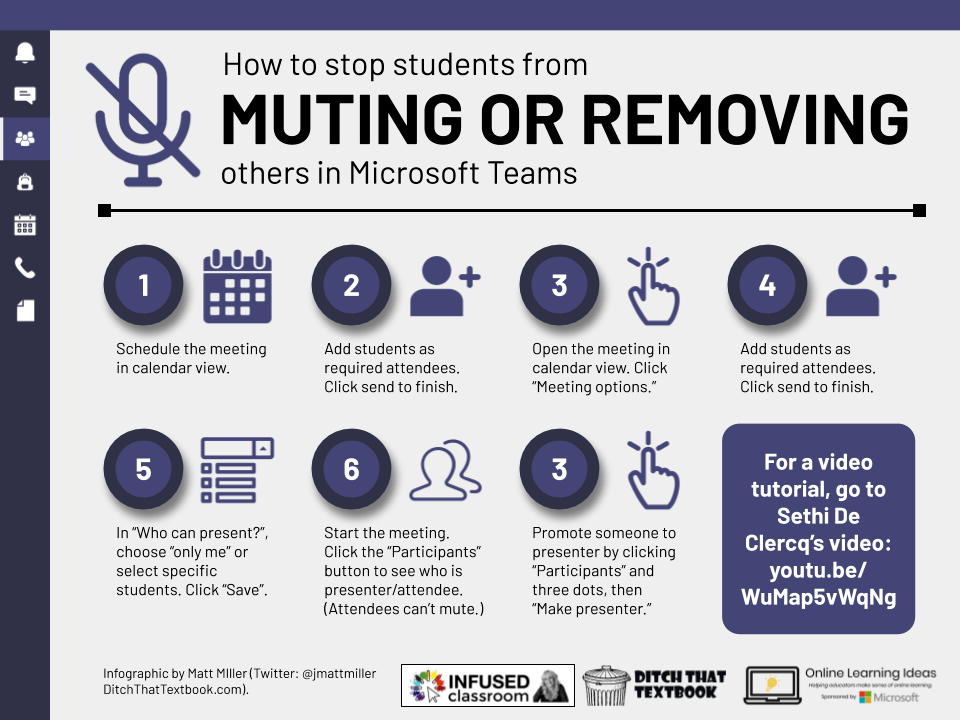 How  to stop students from Muting or Removing others in Microsoft Teams Icon