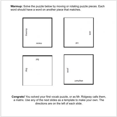 Vocabulary Puzzle template