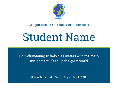 Student Certificate Template