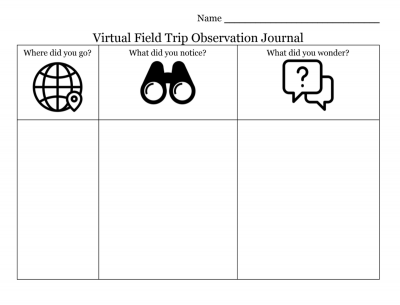 Virtual field trip journal template