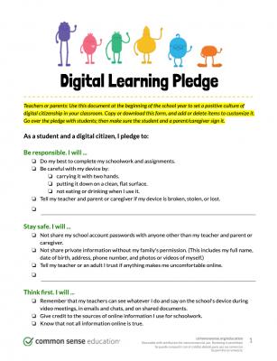 Common Sense Media digital learning pledge template